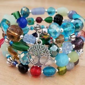 Jewelry - Memory Wire Multi-Color beaded bracelet